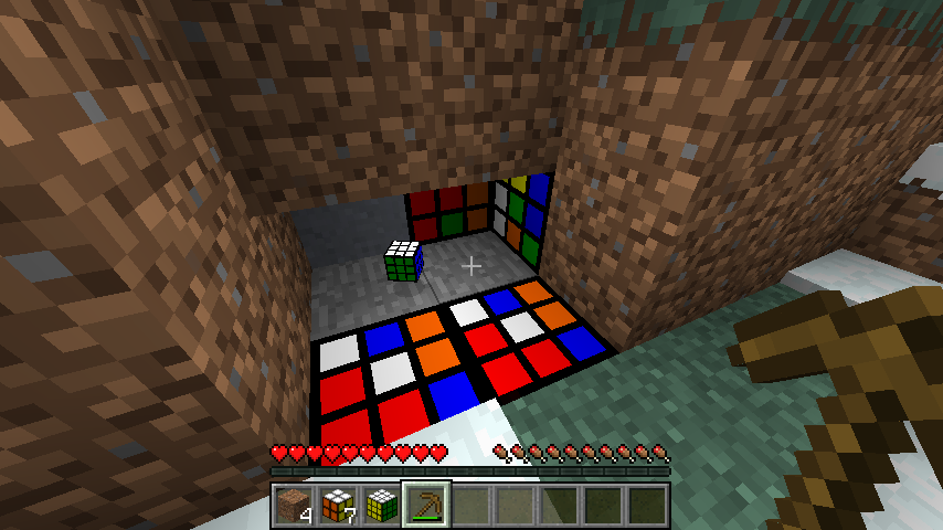 3 by 3 by 3 cubes as blocks, one has been broken and floats as an item