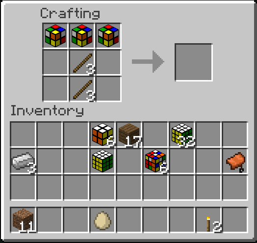 Scrambled cubes in a crafting recipie for a pickaxe, doesn't work.