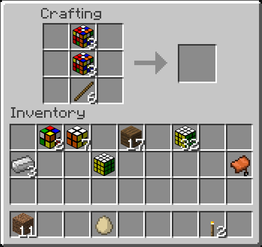 Scrambled cubes in a crafting recipie for a sword, doesn't work.